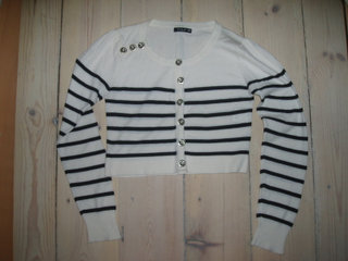 Stribet strik cardigan XS