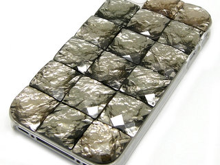 Kampagne vare, iPhone 4 / 4s Square Gemstone Hårdt Cover - sort