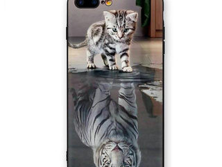Cover med kat tiger til iPhone SE 6 6s 7 8 7+ 8+
