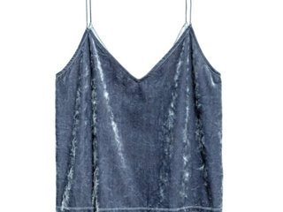 Divided velour top