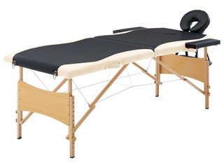 Foldbart massagebord 2 zoner træ sort og beige
