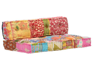 Puf med patchwork stof